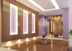 hall de entrada - Pesquisa Google Wall Design, House Design, Dental Office Design, Backyard Lighting, Shop Interiors, Interior Exterior, Living Spaces, Wall Decor, Bed Room