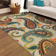 "Carolina Weavers Indoor/Outdoor Santa Barbara Collection Pampano Multi Area Rug (5'2 x 7'6) (5'2"" x 7'6""), Blue, Size 5' x 8' (Plastic, Floral)"