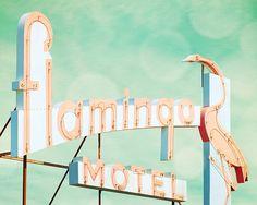 Vintage sign, guest room, pink flamingo, kitsch decor, mid century, dusty rose, blue green, bird, neon, motel, doo wop