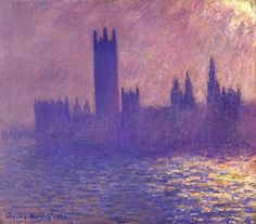 Houses of Parlilament, Sunlight Effect, 1901 by Claude Monet. Impressionism. cityscape