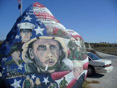 "The Freedom Rock - Menlo Iowa  Painted by Ray ""Bubba"" Sorensen II"