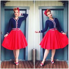 Miss Victory Violet - Outfit of the day. Dress and Belt- Pinup Girl Clothing Cardigan - Emmy  Shoes- Lola Ramona Hairscarf - Tatyana Boutique Petticoat - Malco Modes