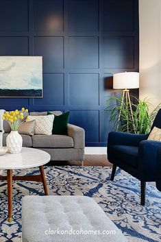 Mace River Custom Home Navy Blue And Grey Living Room, Blue Living Room Decor, Accent Walls In Living Room, Living Room Color Schemes, Living Room Grey, Home Living Room, Navy Blue Sofa, Wall Painting Living Room, Navy Blue Walls