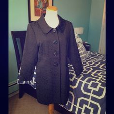 Black Swing Coat Black light-weight swing coat with brocade design, four button closure, and slit pockets. Tag states size XL, but fits like a Large. Perfect dress coat for your next special occasion. Jackets & Coats