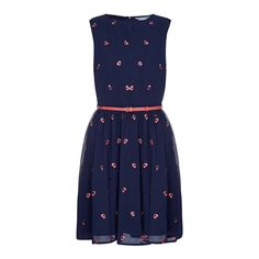 Detailed with embroidered poppies, this dress is perfect for summer. Falling above the knee, it has a round neckline, detachable belt and back zip-fastening. Pair with ankle straps for special occasions.