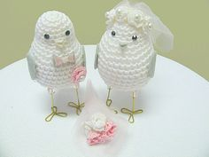 Blush Pink Wedding cake topper love birds Bride amd by MAVECROCHET