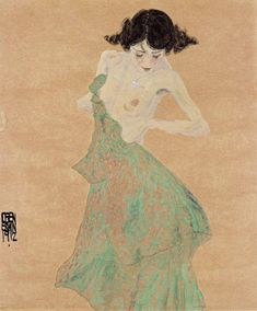 Woman in a green dress, 1912