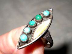 ANOTHER OLD UNIQUE Turquoise Mother of Pearl and Silver Ring