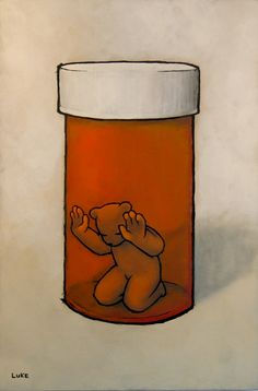 "In this piece by Luke Chueh titled ""The Prisoner"" it shows how sometime we get stuck in our addictions, or do thing that would get us locked up either in our head or in real life. As you can see the bear is trapped inside a pill bottle in a depressed mood. This is what occurs when we get caught up in a addiction whether it being a drug or a game. When get caught up in addiction everything seems to become meaningless and we get stuck in our own little world."