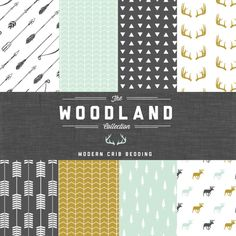 The Woodland Collection Crib Bedding Set - Modern Custom Crib Bedding - Choose your fabric - CozybyJess Exclusive by CozybyJess on Etsy Baby Boy Rooms, Baby Boy Nurseries, Theme Color, Crib Bedding Boy, Shower Bebe, Woodland Nursery, Woodland Theme, Nursery Inspiration, Nursery Decor