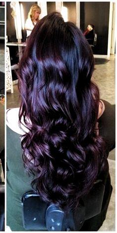 New Hair Color Purple Highlights Plums Dyes Ideas Hair Color Purple, Hair Color And Cut, Cool Hair Color, Black Cherry Hair Color, Deep Burgundy Hair Color, Ombre Colour, Plum Hair Colors, Burgundy Plum Hair Color, Hair Colors For Fall