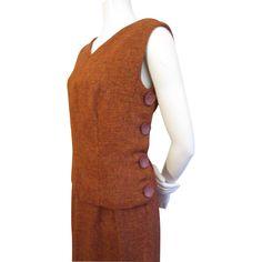 Wool Tweed Suit Vintage 1940s Burnt Orange Vest Skirt  http://www.rubylane.com/item/676693-CLO266/Wool-Tweed-Suit-Vintage-1940s-Burnt