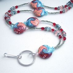 Polymer Clay Large Disc Flower Beads Blue Red by Plumbeadacious, $28.00