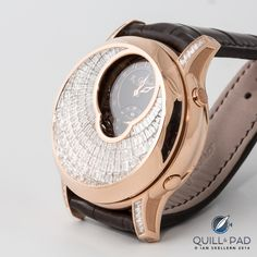 """Romain Gauthier Logical one Secret """"Diamonds"""" in red gold But Is It Art, Creative Skills, Baguette Diamond, Hand Engraving, Red Gold, Quilling, Diamonds, Dress Watches, Stuff To Buy"""