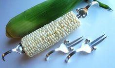 Corn on the Cob Zkewers Repurposed Silverware - Set of 2 (4 total) via Etsy
