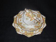 RARE STUNNING Star  Paragon Apricot & Lemon  Scallop Shell Like Floral Trio