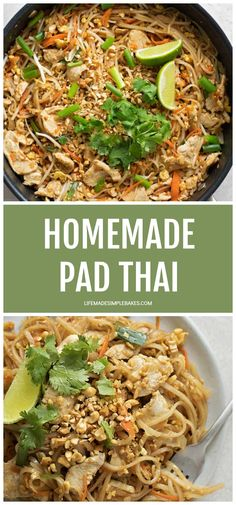 Homemade Pad Thai - Life Made Simple Filled with sprouts, carrots, chicken and onion and cooked in a homemade sauce, this Pad Thai recipe has become a family favorite! It's simple and tastes jus like that found at the restaurants. Easy Thai Recipes, Asian Recipes, Dinner Recipes, Healthy Recipes, Ethnic Recipes, Fast Recipes, Chinese Recipes, Filipino Recipes, Chinese Food