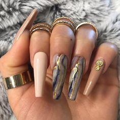 stunning fall acrylic nail designs and ideas 19 ~ thereds. Summer Acrylic Nails, Best Acrylic Nails, Acrylic Nail Designs, Unique Nail Designs, Marble Nail Designs, Fancy Nails, Trendy Nails, Nail Bling, Dope Nails