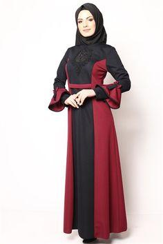 Sırt Düğmeli Tesettür Elbise Siyah Bordo NB 2428