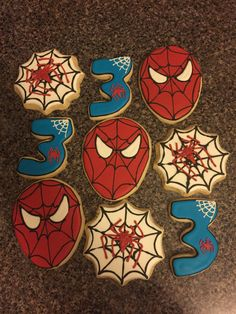 Items similar to Spiderman Cookies on Etsy Superhero Birthday Party, 3rd Birthday Parties, Man Birthday, Spiderman Cookies, Avenger Cake, Iron Man Avengers, Cupcake Decorations, Ice Ice Baby, Birthday Stuff