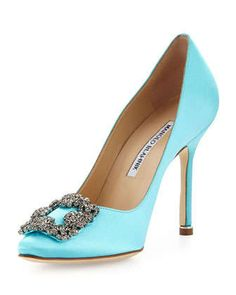 Hangisi Satin Crystal-Toe Pump, Turquoise by Manolo Blahnik at Neiman Marcus.