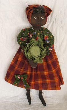 E pattern Primitive Black Nanny Doll Pattern by RaggedyRhondas