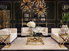 A black and gold living room inspiration is always a stunning example of creativity | www.the-privatelabel.com #livingroomideas #livingroom #luxuryfurniture #furniture #lighting #design