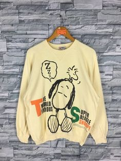 f6d29654e83f7c SNOOPY Joe Cool Sweater Men Medium Vintage 90s Peanuts Pullover Cartoon Charlie  Brown Sweatshirt Yellow Snoopy Super Beagle Sweater Size M