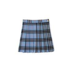 チェックプリーツスカート (994.625 VND) ❤ liked on Polyvore featuring skirts, clothing - skirts, bottoms, bubble skirts and blue skirt