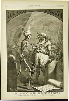 """Thomas Nast; Anti-Alcohol Cartoon.Wood engraved cartoon by famous political cartoonist Thomas Nast, published in an 1870 issue of Harper's Weekly. The cartoon shows a skeleton portrayed as """"King Death,"""" giving a prize to Bacchus, the god of wine"""