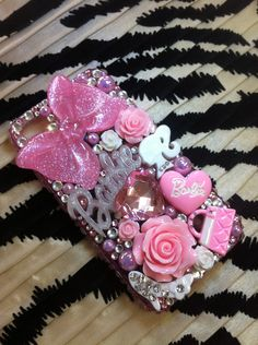 Barbie Decoden iphone 4 4s case Swarovski bling. $59.99, via Etsy.