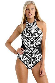24378eb6fd783 Tribal Print High Neck One Piece Swimwear ANSHIKA - ANSHIKA - 1 Swimsuit  Pattern