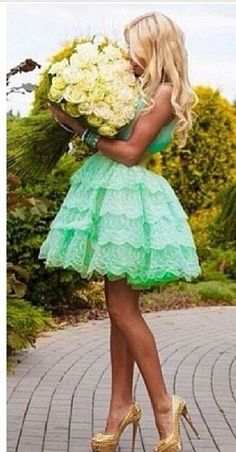 #mint #ruffle #gorgeous #pastel #pretty #beautiful #cute #summer #lace #gown #sopretty #fashion #style #heels #shoes #flowers #floral #garden #nature #beauty #ruffles #tulle #wedding #prom