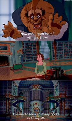 Day 21- Most Romantic moment, When Beast gives Belle his library. It is something that is simple and sweet because he knows it will make her happy.
