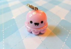 Polymer Clay Charm Kawaii Pink Jellyfish by JollyCharms on Etsy, TOO CUTE