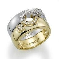 Lesbian Pride engagement ring. makes me think of two of my best friends