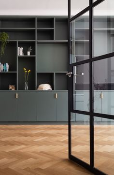Black Crittall doors opening into the living space with bespoke joinery in Green Smoke by Farrow and Ball - by SJW Architects Farrow And Ball Living Room, New Living Room, Home And Living, Living Room Decor, Farrow And Ball Kitchen, Home Office Design, House Design, Crittal Doors, Steel Doors And Windows