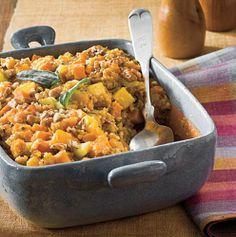24 Thanksgiving Food Ideas With Recipes = cornbread-stuffing-sweet-potato-squash