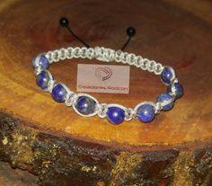 MENS ADJUSTABLE BRACELET Silver Cord and Lapis Lazuli by RodconPR