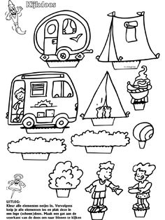Kamperen - Mobielen - Knutselpagina.nl - knutselen, knutselen en nog eens knutselen. 4 Kids, Diy For Kids, Crafts For Kids, Colouring Pages, Coloring Pages For Kids, Camping Cards, Notebook Doodles, Operation Christmas Child, Camping Theme