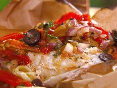 """Lunchbag"" Swordfish with Mediterranean Tomato Sauce and Linguini recipe from Michael Chiarello via Food Network"