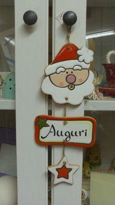 ceramica come mestiere: Decorazioni natalizie per fuori porta. Renna e babbo Natale.
