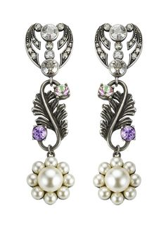 2491485b0 Crystal Studded Feather Drop Earring with Pearl Daisy Drop Earring,  Contemporary Design, Costume Jewelry