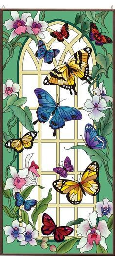 Art Garden – Butterfly Garden - About Life Butterfly Painting, Butterfly Wallpaper, Butterfly Art, Stained Glass Patterns, Stained Glass Art, Mosaic Glass, Illustration Blume, Butterfly Pictures, Panel Art