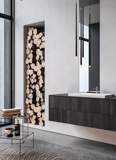 Double wall-mounted vanity unit SENSE 07 by @ideagroupbagno