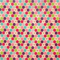 bee echino Canvas fabric purple pink bee honeycomb