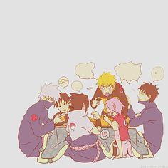 Team 7 all sitting down together at dinner! Kakashi, Sai, Naruto, Sasuke, Sakura and Yamato. Naruto Team 7, Naruto Gif, Naruto And Sasuke, Naruto Uzumaki, Sarada Uchiha Manga, Sharingan Kakashi, Kakashi Sensei, Naruto Cute, Shikamaru