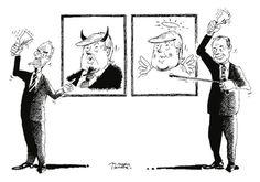 """OÖN-Karikatur vom 12. November 2016: """"Der eine sieht´s so, der andere so"""" Mehr Karikaturen auf: http://www.nachrichten.at/nachrichten/karikatur/ (Bild: Mayerhofer)"""