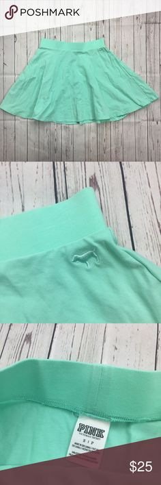 PINK Victoria's Secret mint SZ S  flowy mini skirt Gently used. No flaws noticed. All measurements are provided in pictures. Please see all pictures for full details. Ships one business day, if purchases are made before 12 PM PST it ships same day. PINK Victoria's Secret Skirts