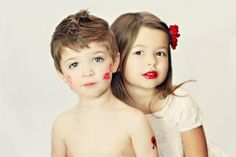 Valentine's Day LOVE childrens photo / siblings photo / valentines day photo / lipstick photo